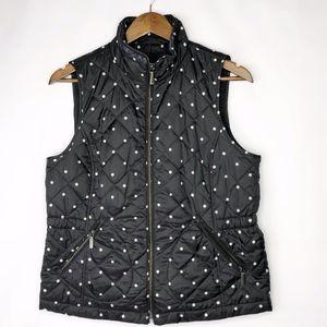 TALBOTS Black/White Polka Dot Puffy Vest EUC - MP